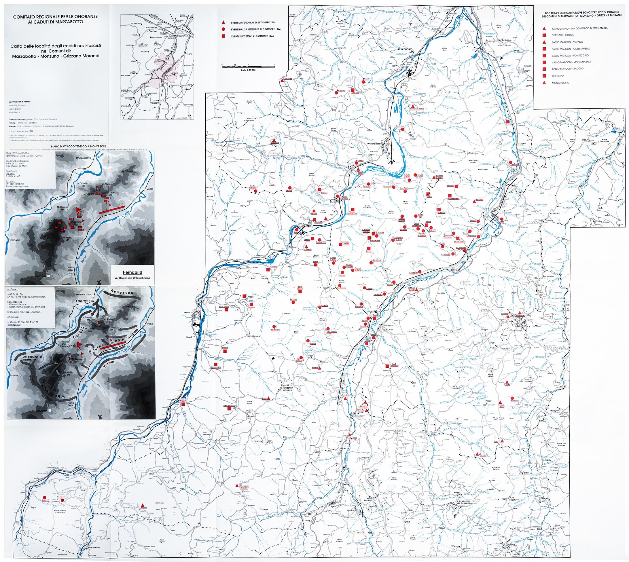 Carta delle località degli Eccidi nazi-fascisti nei Comuni di Marzabotto, Monzuno e Grizzana Morandi